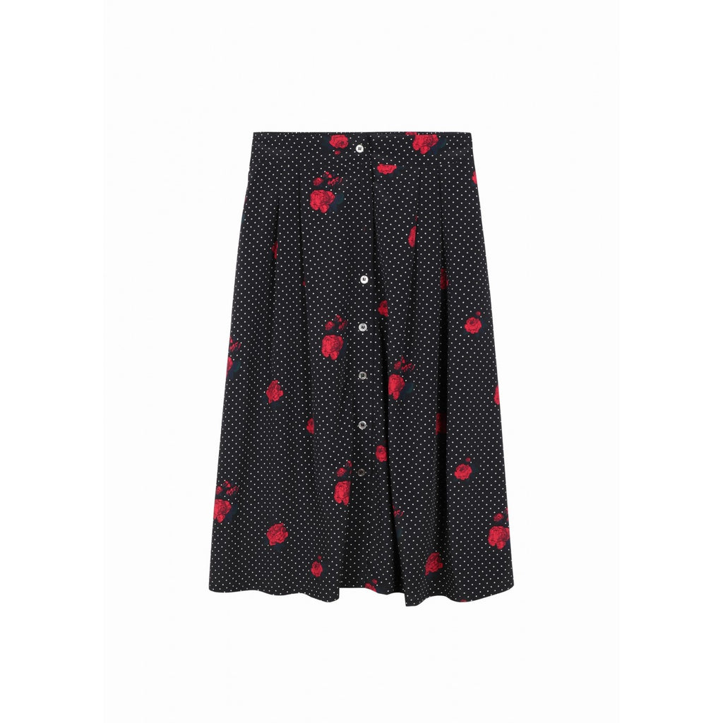 Black & White Polka Dot Roses Midi Skirt