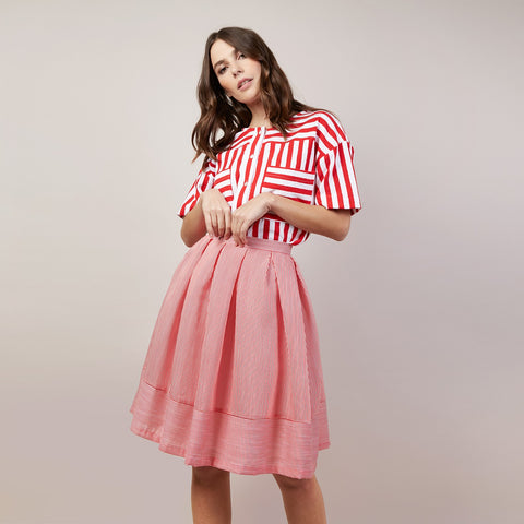 Red & White Striped Skirt