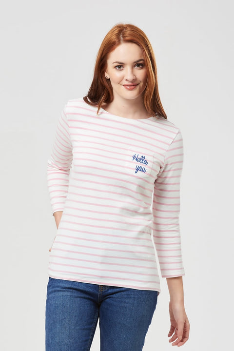 Hello You Pink And White Stripe Top