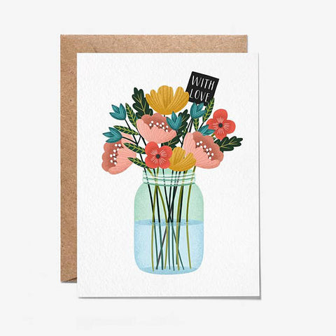 With Love Bunch Of Flowers Greeting Card