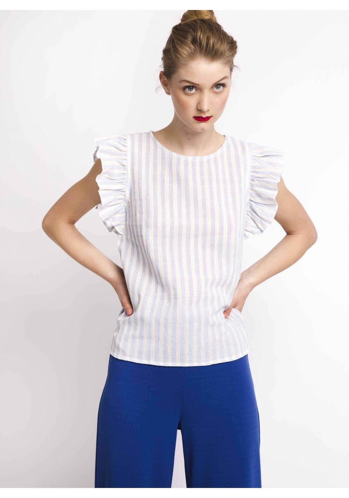 White and blue striped print top