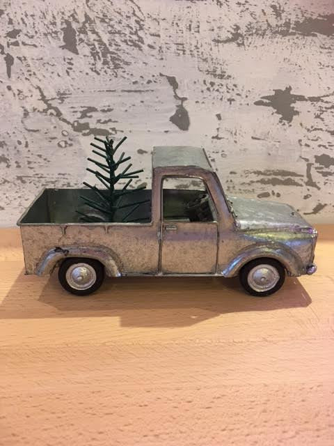 Tin Truck With Tree