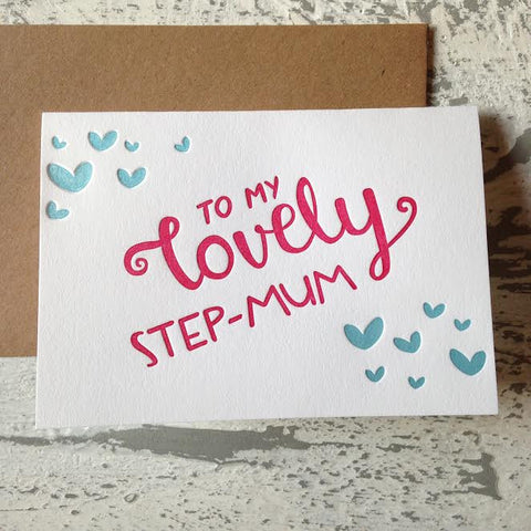 Lovely Step-Mum Letterpress Card#