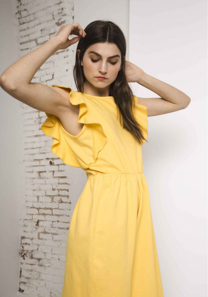 Yellow Frill Summer Dress