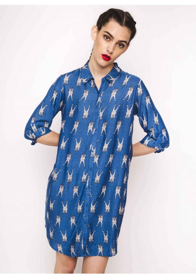 Blue shirt dress with giraffe print