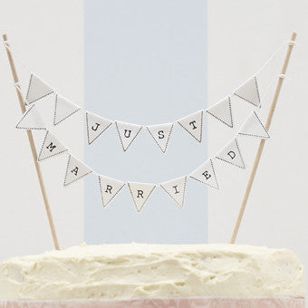 Just Married Cake Bunting White