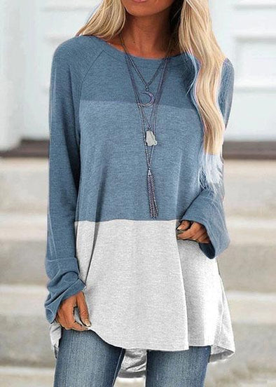 Casual Round Collar Color Block Long Sleeve Tops