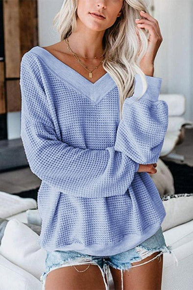 Sky Blue V Neck Long Sleeves Knitted Sweaters LC2512882-4