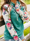 Green Baseball DoubleHood Floral Pocketed Sweatshirt LC2533068-9