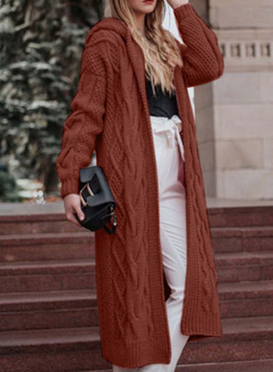 Brown Fashion Warm Hooded Long Cardigan LC851677-17
