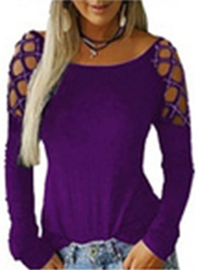 Purple Solid Rhinestones Cut-out hollow Long Sleeve Blouse LC2513000-8