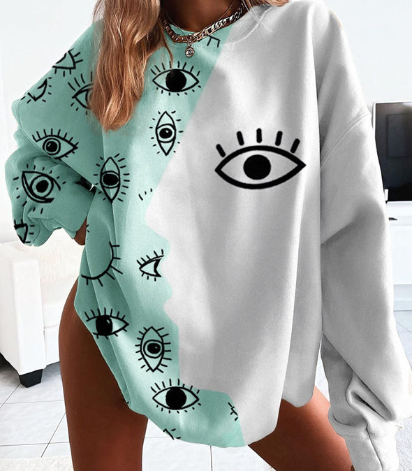 Multicolor Basic Loose Long Sleeve Sweatshirt with Personalized Print LC2533592-22