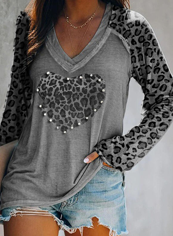 Gray Leopard Solid V-Neck Long Sleeves Sweatshirt LC2513156-11