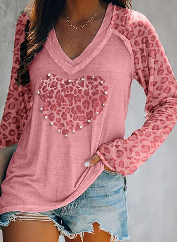 Pink Leopard Solid V-Neck Long Sleeves Sweatshirt LC2513156-10