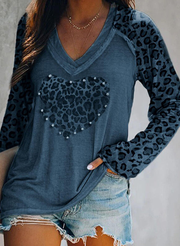 Sky Blue Leopard Solid V-Neck Long Sleeves Sweatshirt LC2513156-4