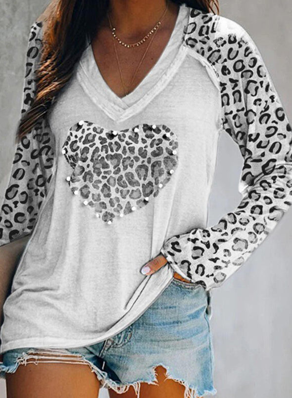 White Leopard Solid V-Neck Long Sleeves Sweatshirt LC2513156-1