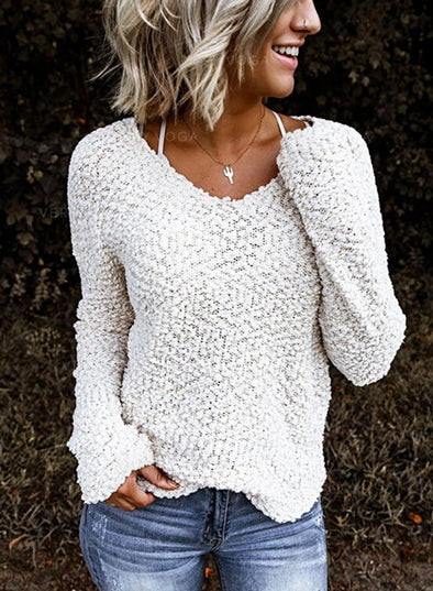 White Solid V-Neck Long Sleeves Casual Knit Blouses LC2513174-1