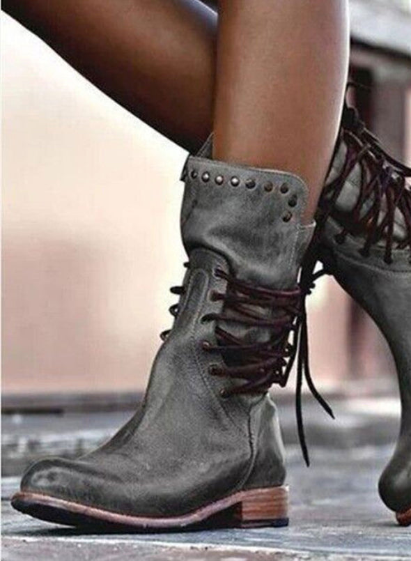 Gray Studded Low Heel Rider Boots LC12384-11