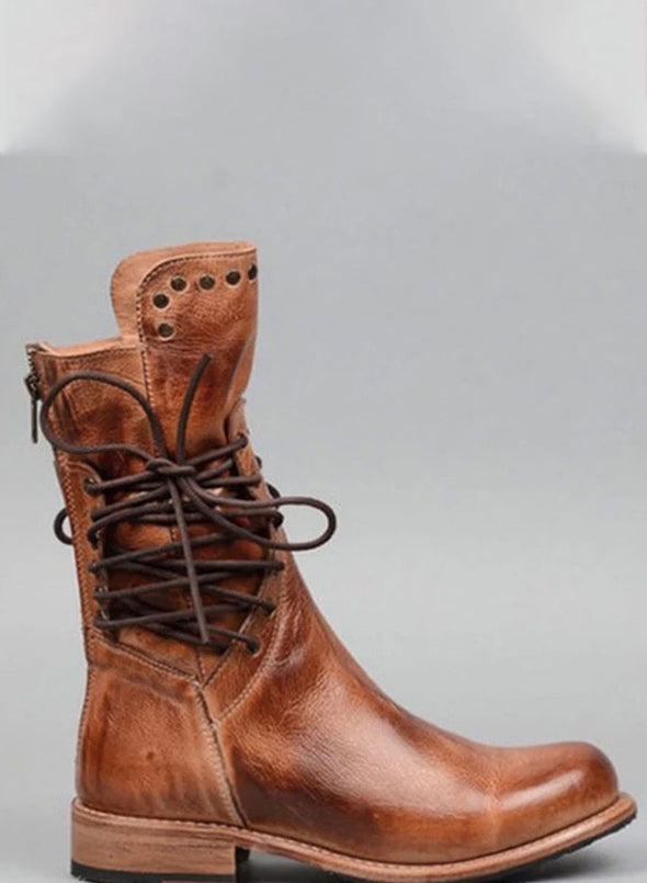 Brown Studded Low Heel Rider Boots LC12384-17