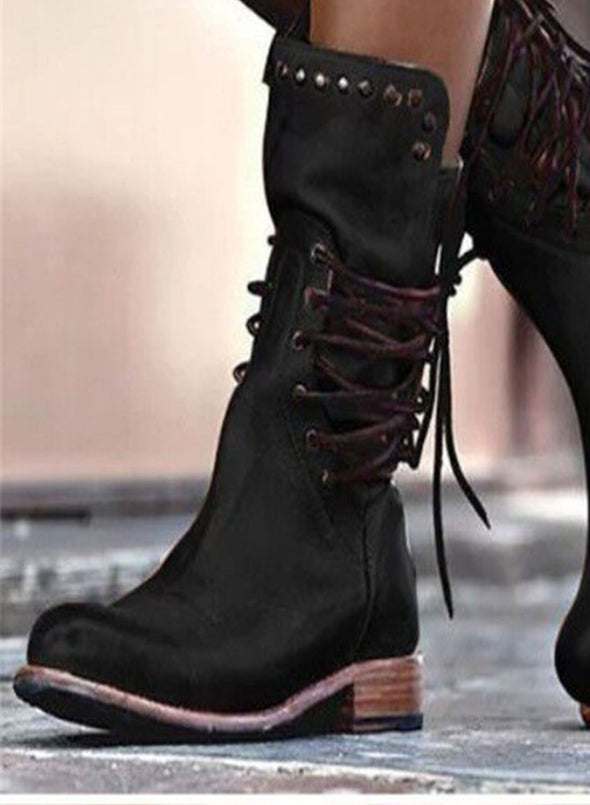 Black Studded Low Heel Rider Boots LC12384-2