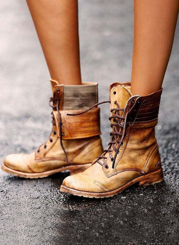 Brown Vintage Women Lace-up Flanging Martin Boots LC12399-17