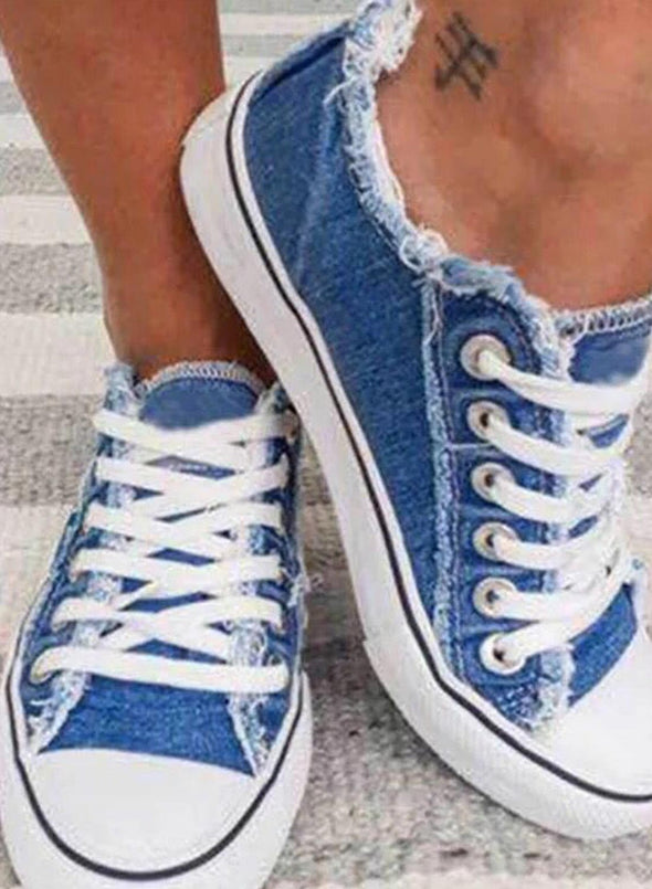 Sky Blue Solid Denim Flat Lace-up Canvas Shoes LC12416-4