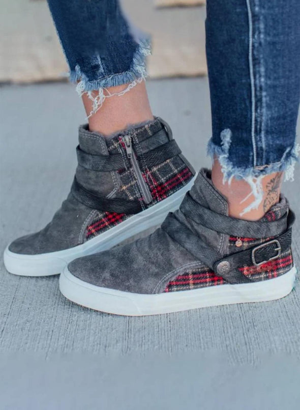 Gray Women  Plaid Buckle Side Zipper Canvas Shoes LC12427-11
