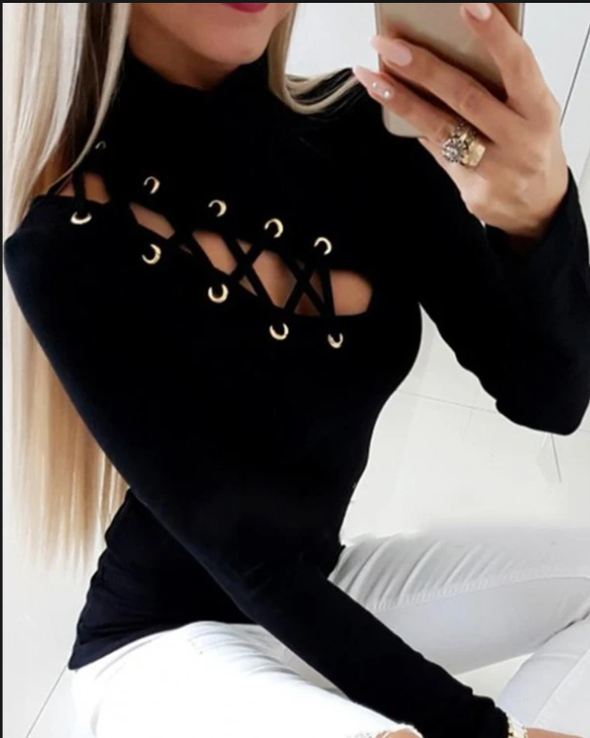 Black Eyelet Lace-up Long Sleeve Top LC2513554-2