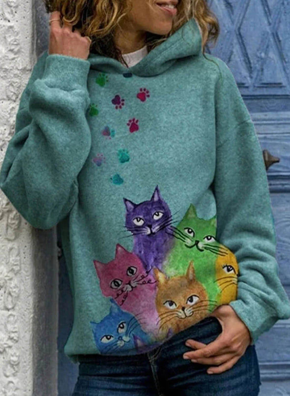 Green Women's Hoodies Colorful Cat Print Lively Hoodies LC2534442-9