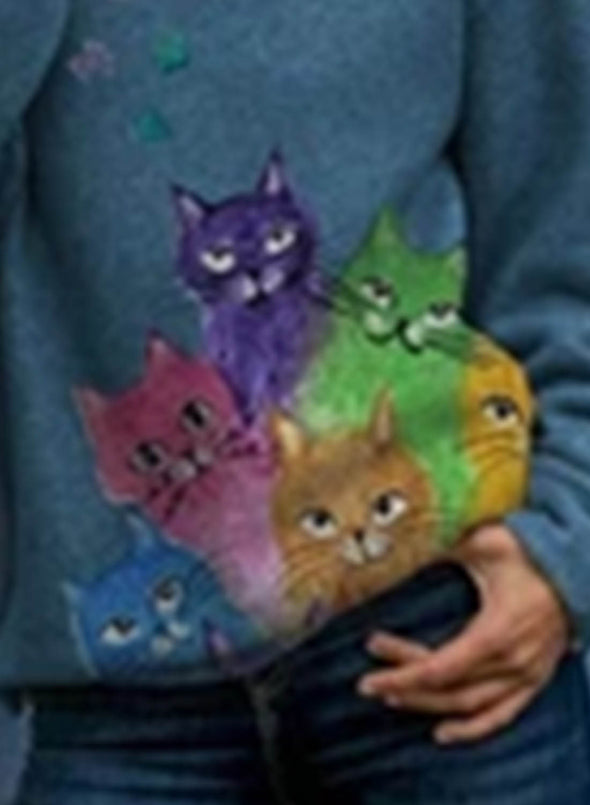 Blue Women's Hoodies Colorful Cat Print Lively Hoodies LC2534442-5