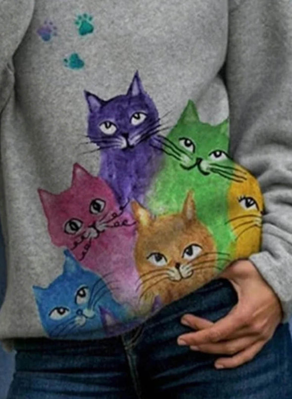 Gray Women's Hoodies Colorful Cat Print Lively Hoodies LC2534442-11