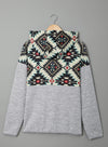 Gray Geometric Long Sleeve Regular Hoodie LC2532208-11