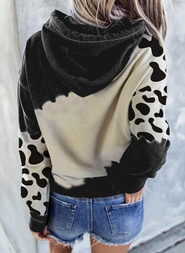 Black Women's Cute Cow Print Pocket Hoodie LC2534670-2