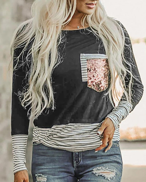 Black Sequins Striped Colorblock Casual Top LC2514222-2
