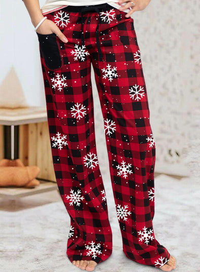 Red Woman's Christmas Mid Waist Striped Casual Plaid Pants LC771046-3