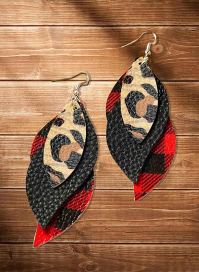 Red Women's Earrings Christmas Color-block Plaid Leopard Earrings LC01810-3