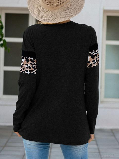 Black Leopard Patchwork Long Sleeve T-shirts LC2522185-2