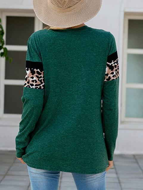 Green Leopard Patchwork Long Sleeve T-shirts LC2522185-9