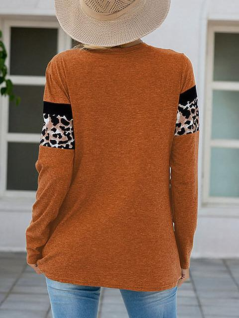 Brown Leopard Patchwork Long Sleeve T-shirts LC2522185-17