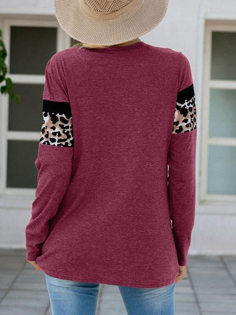 Red Leopard Patchwork Long Sleeve T-shirts LC2522185-3
