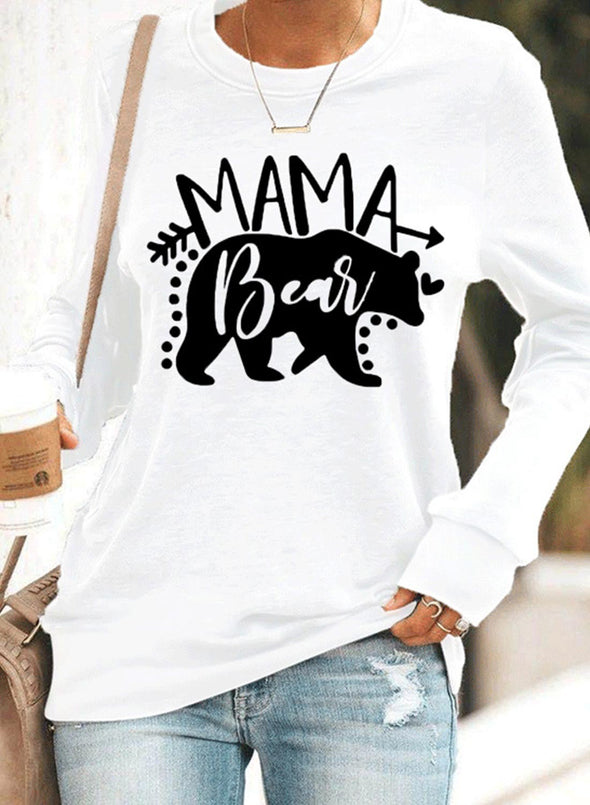 White Women's Sweatshirts Animal Print Long Sleeve Round Neck Sweatshirt LC2535054-1