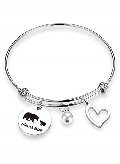 Silver Mama Bear Stainless Steel Pendant Adjustable Bracelet LC01674-1013