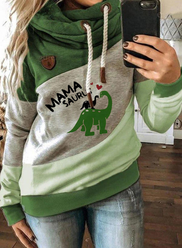 Green Women's Hoodies Turtleneck Drawstring Long Sleeve Color Block Hoodies LC2535184-9
