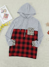 Gray Color Block Leopard Red Plaid Pocket Hoodie LC2532417-11