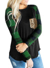 Green Red Plaid Pocket Sequin Long Sleeve Sweatshirt LC2512774-9