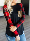 Black Red Plaid Pocket Sequin Long Sleeve Sweatshirt LC2512774-2