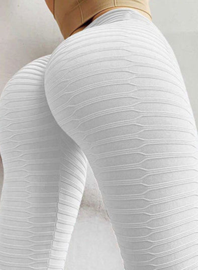 White Women's Yoga Pants Solid Color Skinny Quick-drying High Waist Yoga Pants LC260012-1
