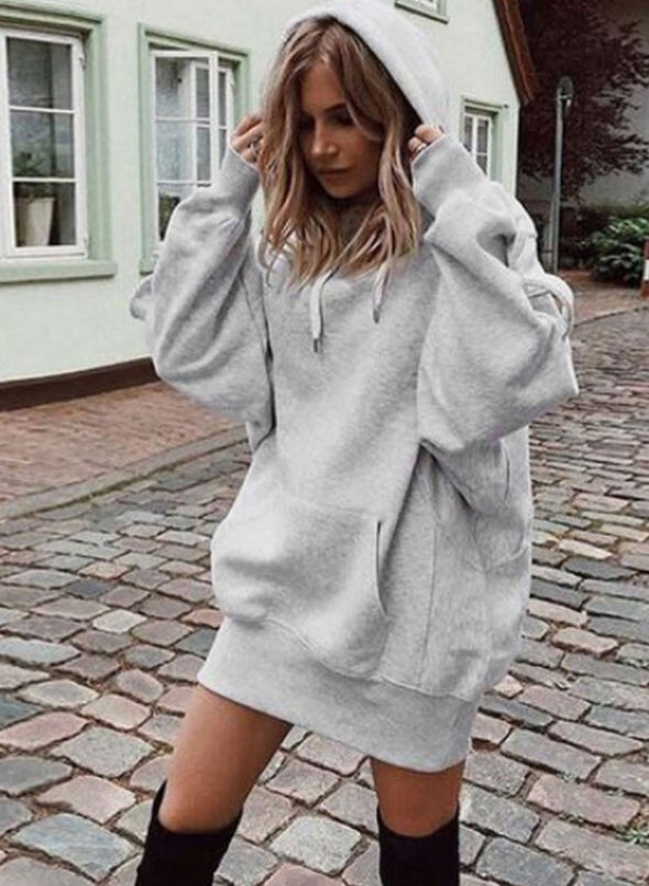 Gray Women's Hoodies Solid Loose Casual Long Sleeve Hoodie LC2535502-11