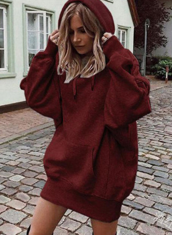 Red Women's Hoodies Solid Loose Casual Long Sleeve Hoodie LC2535502-3