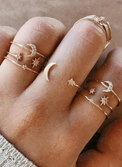 Gold Women's Rings Alloy Star Sets LC01878-12